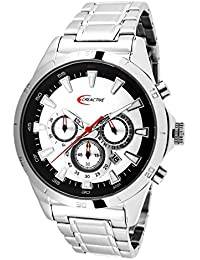 Creactive CA120103 - Reloj pulsera analógico para hombre de cuarzo, cronógrafo de acero inoxidable plateado