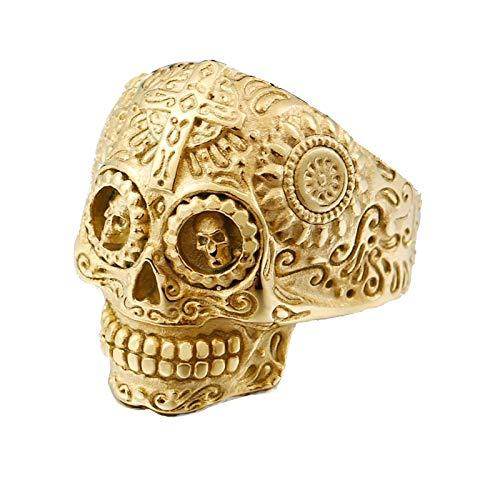 Blisfille Ringe Männer Gold Titan Ring Herren Ring Schädel Gold Ring Kreuz Herren Gold Gr. 62 (19.7)