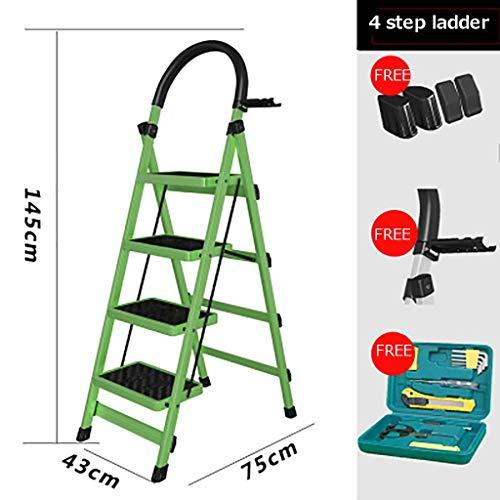 Plegable Escalera,multifunción Escaleras De Mano Antideslizante Pesada Deber Escalera Para El Hogar Cocina Oficina Almacén-verde 43x75x145cm(17x30x57inch)