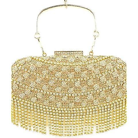 Da Wu Jia Ladies borsetta di alta qualità di lusso diamanti donne infiorescenza staminifera frizione/formale / evento/festa di nozze / sera Borsa/borsa/borse/Eveningbags/vetro/pietra/fiocco , nero