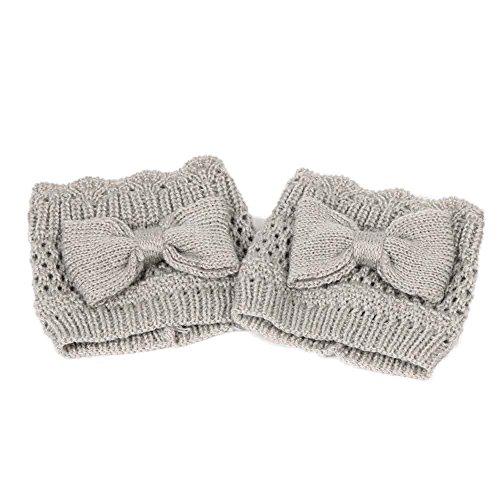 Damen Frauen Winter Warm Bowknot Crochet Gestrickte Draussen Strümpfe Beinwärmer Boot Plüsch Cover Trim Socken Von BakeLIN (Grau) -