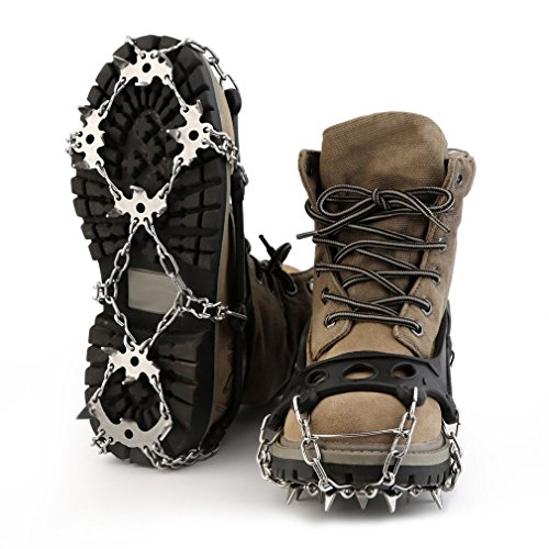 HappGrand Schuhspikes Schuhkrallen mit 18 Edelstahlspikes, Spikes für Schuhe Eis Schnee Trekkingschuhe Wanderhalbschuhe (Frauen Gelände-stiefel Alle)