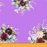 Soimoi Purple Heavy Canvas Stoff Leaves & Peony Floral