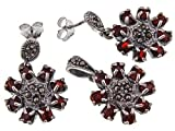 Stylish Jewellery: Vintage 925 Sterling Silver Marcasite & Garnet Stone Earrings & Necklace Set. Come With Sterling Silver Snake Chain - 42cm
