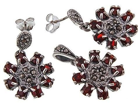 Style : Vintage bijoux 925 argent Sterling et marcassite avec pierre de grenat &&Boucles d'oreilles Set Collier avec chaîne serpent Argent - 925/1000–Argent - 42 cm