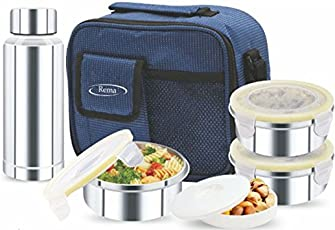 Rema - Stainless Steel Lunch Box Set with 3 Steel Containers + 1 Steel Bottle + 1 Plastic Container + Bag - Delivered Directly from Factory