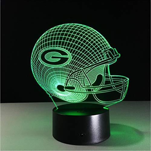 all Green Bay Packers Helm Led-Licht 7 Farbwechsel Tischlampe Bunte 3D Nachtlicht Kinder Weihnachtsgeschenke ()