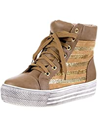Blanco Store Sneakers Donna in Tela Jeans Scarpe Sportive Denim Stringate con Zeppa (36, Jeans)