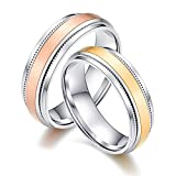 Bishilin Paarepreis Edelstahl Ringe Herren Damen Hochglanzpoliert Rund Breite 6.2 MM Partnerring Verlobung Ring Silber Damen Gr. 54 (17.2) & Herren Gr. 65 (20.7)