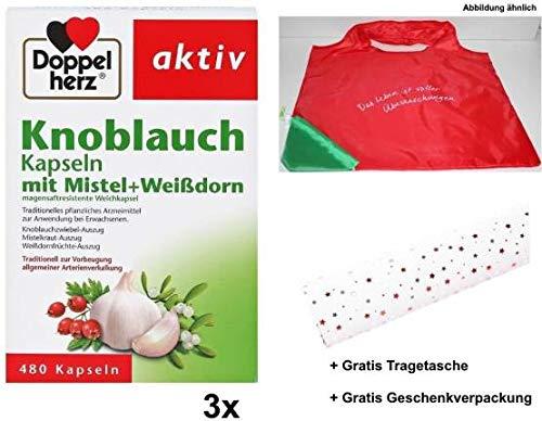 2x 480 Knoblauch Kapseln mit Mistel & Weißdorn +Gratis Shopper Geschenktasche +Gratisgeschenkverpackung. Zur traditioneller Vorbeugung allgemeiner Arterienverkalkung.