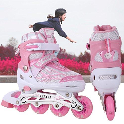 swiftt Inlineskates Rollschuhe Skateschuhe Schlittschuhe Jungen Mädchen Blau Rosa Flash Wheel (Rosa, 28)