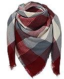 XXL Sciarpa Invernale Sciarpa Karo Sciarpa Scialle coperta sciarpa a quadretti, doppio 150cm x 150cm Bordeaux/Grau/Creme