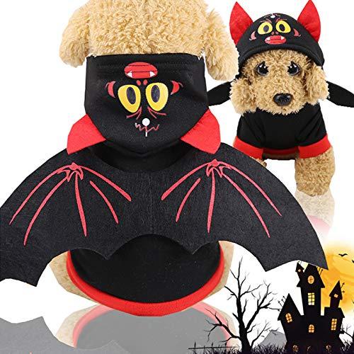 Idepet Disfraz de murciélago de Halloween para Mascota con alas, Sudadera con Capucha para Cachorro, Ropa para Perros pequeños o Gatos