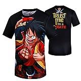 tzxdbh Anime Que rodea la Ropa de Manga Corta Camiseta Luffy Hombre Verano Casual Camisa de impresión de Dibujos Animados 海贼王