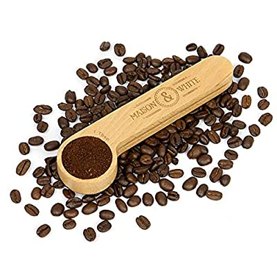 2 in 1 Coffee Clip & Scoop   1 Tablespoon Measurement and Airtight Coffee Bag Seal Peg   Beech Wooden Wooden Loose Tea, Ground Coffee & Bean Saver   M&W from Xbite