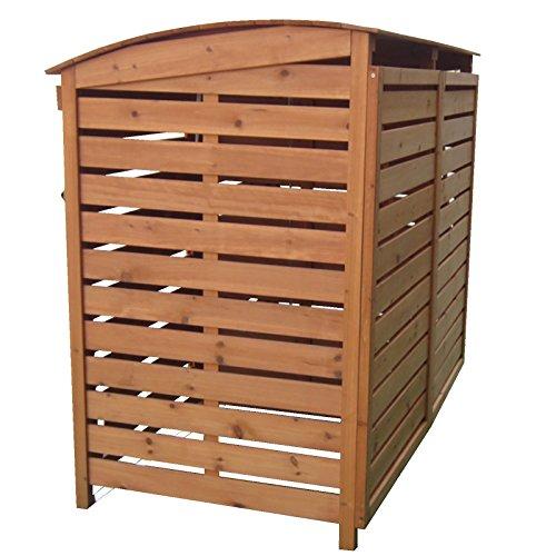 Mülltonnenverkleidung mit Rückwand 2 Mülltonnen 240l Mülltonnenbox Holz Müllcontainer Mülltonnenschrank - 4
