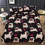 CHAOSE Geeignet für Kinder Little Black Sable Dog Bettwäsche Set,Superweiche Polyester-Baumwolle,3-teilig (1 Bettbezug + 2 Kissenbezüge 48x74cm) (King Size(220x240CM 2M Breites Bett))