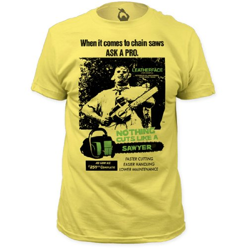T-shirt Texas Chainsaw (Texas Chainsaw Massacre - - Herren Cuts Like A Sawyer-T-Shirt, Large, Banana)