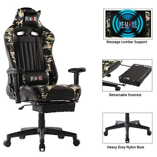 Computer Spielstuhl mit Fußstütze - Einstellbare Drehenende zum Haus Office Liegestuhl mit Hohen Rücken Kopfstütze und Taille-Massage Unterstützung Lehnstuhl für PC(Schwarz & Camo)