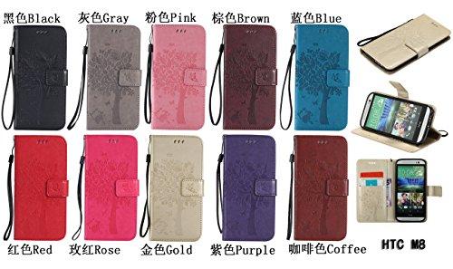 PU Coque One M8 / M8s, Multifonction Case Wallet Cover Etui en cuir Étui de protection flip Wallet stand Cover avec des fentes de cartes pour HTC One M8 / M8s +Bouchons de poussière (5TT)