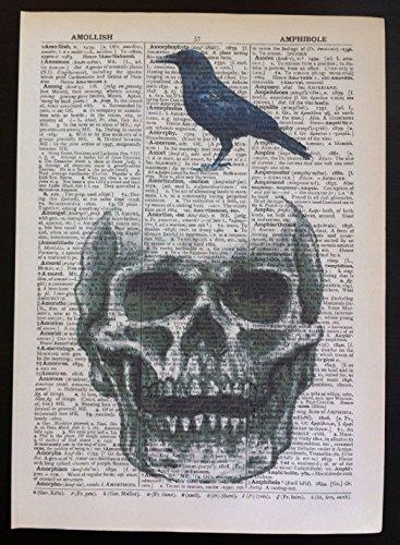 Parksmoonprints Vintage Skull & Bird Print Wörterbuch Seite Art Wand Bild Hipster Steampunk