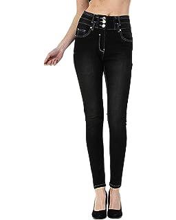 Guiran Femme Crayon Jeans Taille Haute Extensible Pantalon Jeggings Collants 54b3f985eab