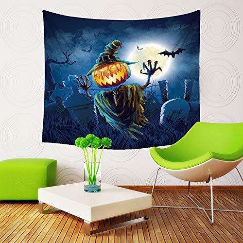 (Qishi Halloween Szenerie Reinigungstuch Tagesdecke Tischdecke Schals Digital Print Kürbis Hexe Ghost Innen Wand aufhängen Hintergrund Dekoratives Gemälde 150× 130cm, Large)