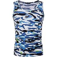 Camiseta Hombres, ❤️ Manadlian Top de camuflaje masculino O cuello Camiseta sin mangas Chaleco blusa (CN:XXL, Azul)