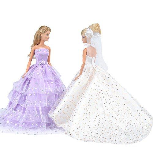 E-TING Hochzeitskleid Cinderella Hochzeit Floral Kleid Spitzenkleid mit Pailletten Barbie Abend Party Outfit für Cinderella königlichen Ball und Dornröschen