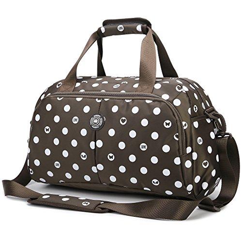 AOKE Sleek Spots Reise-Duffle-Reisetasche Weekender-Tasche Flight-Reisetasche Tote Crossbody-Gepäck Kleinteile Braun mit Gratis-Diebstahlsicherung (Duffle Braun)