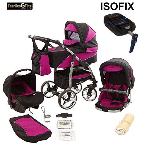 Ferriley & Fitz Daytona Kinderwagen Safety-Set (Autositz & ISOFIX Basis, Regenschutz, Moskitonetz, Getränkehalter, Schwenkräder) 09 Schwarz & Lila