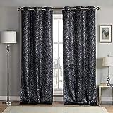 KENSIE (KEO89) Blackout Vorhang, schwarz, 96,5x 243,8cm