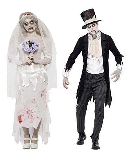 Fancy Me Herren Damen Paar Kostüm Zombie Geist Leiche Braut & Bräutigam Halloween Verkleidung Outfit - Ladies UK 12-14 & Mens Large