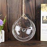 Depory, Confezione da 3 vasi Rotondi in Vetro da Appendere, per Decorare la casa o Il Matrimonio