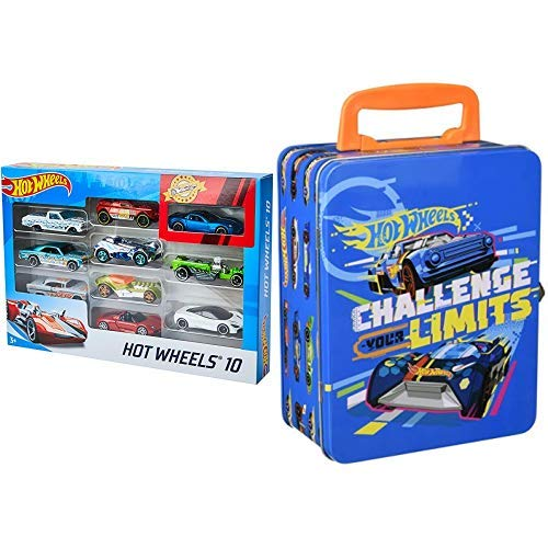 Hot Wheels 54886 1:64 Die-Cast Auto Geschenkset, je 10 Spielzeugautos, zufällige Auswahl, Spielzeug Autos ab 3 Jahren, 10er Pack & Theo Klein 2883 - Hot Wheels Autosammlerkoffer aus Metall, Spielzeug