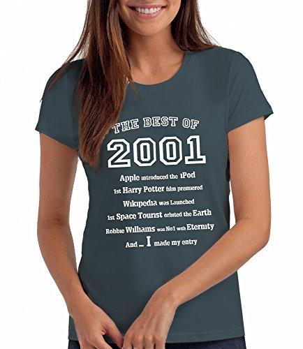 Da Londra Damen - The Best of 2001 - T-Shirt als Geschenk zum 18. Geburtstag: De, M