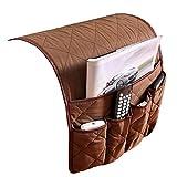 IPENNY Couch Sofa Armlehne Organizer Stuhl TV Fernbedienung Halterung Bett Storage Tasche für Handy Tablet Notizblock Buch Zeitschriften DVD, Tränke Snacks Halter Tasche Coffee (5 Pockets)