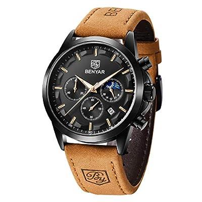 BY BENYAR - Relojes Hombre | Reloj Cronografo Hombre | Movimiento Cuarzo | 30M Resistente al Agua y a los arañazos Cada ocasión