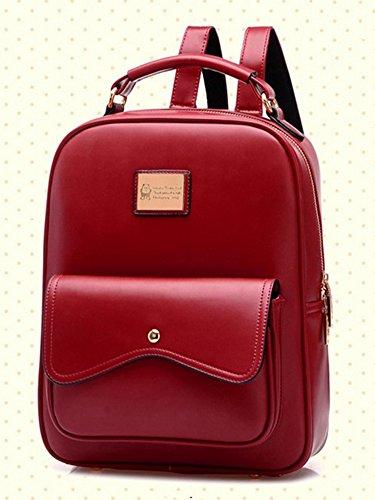 Molly Donne Stile Di Gusto Squisito Solido Colori Dello Zaino Rosso