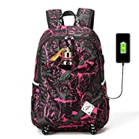 C-Xka Fashion Wear Backpack Outdoor Camouflage Sports Travel Lightweight Rucksack Casual Daypack College Student School Bag Laptop Bag With USB Charging Port (color : E)