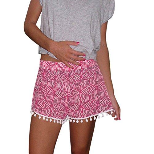 Dasongff Damen Polka Dot Hot Pants High Waist Quaste Shorts Sommer Casual Kurze Hosen Strand Shorts (Rosa, XL) - Rosa Polka Dot Kleidung