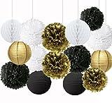 Lanternes en papier de soie en forme de fleur dorée, noires et blanches - Pour décorations