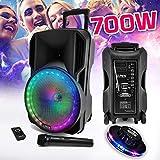 Enceinte sono DJ PARTY KARAOKE 700W Batterie Disco Mobile 12' à LED RGB USB/MICRO SD/Bluetooth/RADIO FM + Micro VHF + OVNI Ufo