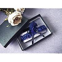 Giarrettiera personalizzata di pizzo nozze matrimonio sposa biancheria intima regali de nozze blu nome e data