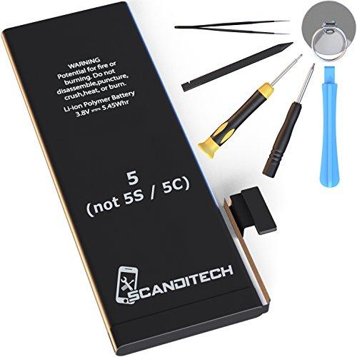 Scanditech - Batería de repuesto para iPhone 5(no 5s/5C), /Kit de reparación, con batería y herramientas - Funciona con todas las compañías iPhone5