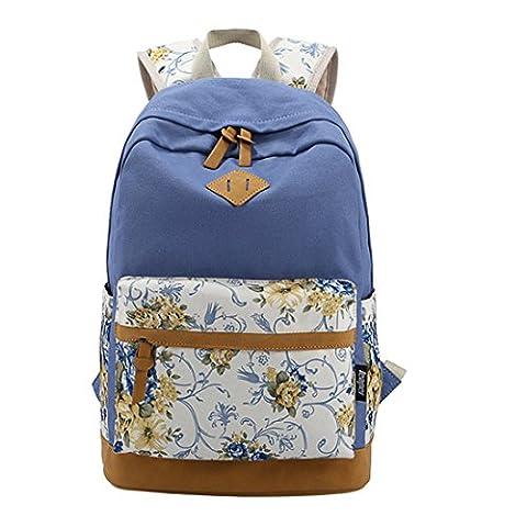 iTECHOR Mode Druck Segeltuch -Rucksack Blumenmuster Kleine Laptop-Umhängetasche - Blau (Oilily Kindertasche)