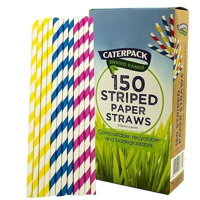 Caterpack Candy rayé pailles en papier Rose, Bleu et Jaune-Lot de 150 Candy-bar-handys
