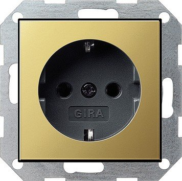 Price comparison product image GIRA 0188604 SCHUKO BLACK, Brass – Outlet (16 A)
