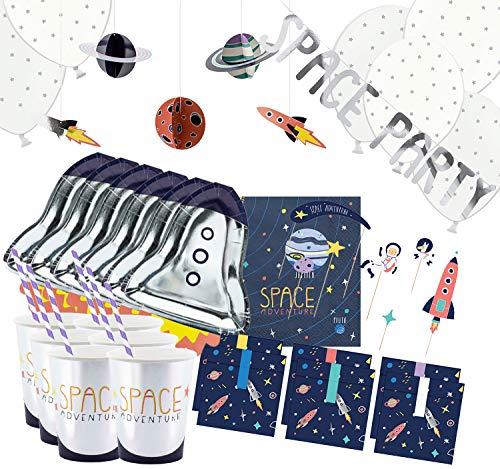 Party-Set Kinder Geburtstag Astronaut Weltraum 67 Teile Geschirr Deko Luftballon