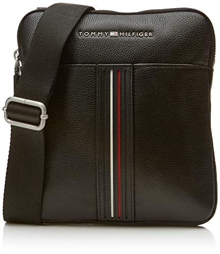 Tommy Hilfiger - Inlay Leather Mini Crossover, Shoppers y bolsos de hombro Hombre, Negro (Black), 2x23x20.5 cm (B x H T)